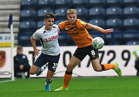 Preston North End's Josh Harrop battles with Hull City's Daniel Batty<br /> <br /> Photographer Dave Howarth/CameraSport<br /> <br /> The Carabao Cup Second Round - Preston North End v Hull City - Tuesday 27th August 2019  - Deepdale Stadium - Preston<br />  <br /> World Copyright © 2019 CameraSport. All rights reserved. 43 Linden Ave. Countesthorpe. Leicester. England. LE8 5PG - Tel: +44 (0) 116 277 4147 - admin@camerasport.com - www.camerasport.com