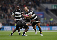 16th November 2019; Twickenham, London, England; International Rugby, Barbarians versus Fiji; Andre Esterhuizen of Barbarians charges towards John Dyer of Fiji - Editorial Use