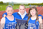 Tralee Harriers runners at the Kerry AAI Juvenile Championships in Castleisland on Friday L-r: Erika Mackey, Laura Lynch and Hannah Ryan