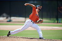 GCL Astros relief pitcher Carlos Sierra (55) delivers a pitch during a game against the GCL Nationals on August 6, 2018 at FITTEAM Ballpark of the Palm Beaches in West Palm Beach, Florida.  GCL Astros defeated GCL Nationals 3-0.  (Mike Janes/Four Seam Images)