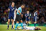 06.09.2019 Scotland v Russia, European Championship 2020 qualifying round, Hampden Park:<br /> Oli McBurnie clatters Georgi Dzhikiya