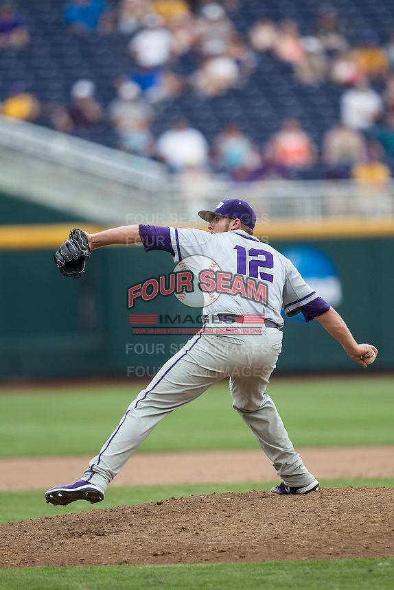 TCU Horned Frogs pitcher Riley Ferrell (12) delivers a pitch to the plate against the LSU Tigers in the NCAA College World Series on June 14, 2015 at TD Ameritrade Park in Omaha, Nebraska. TCU defeated LSU 10-3. (Andrew Woolley/Four Seam Images)