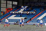 Oldham players  and Portsmouth players shake hands at full time. Oldham v Portsmouth League 1