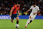 Spain's Marcos Asensio and England's Marcus Rashford during UEFA Nations League 2019 match between Spain and England at Benito Villamarin stadium in Sevilla, Spain. October 15, 2018. (ALTERPHOTOS/A. Perez Meca)