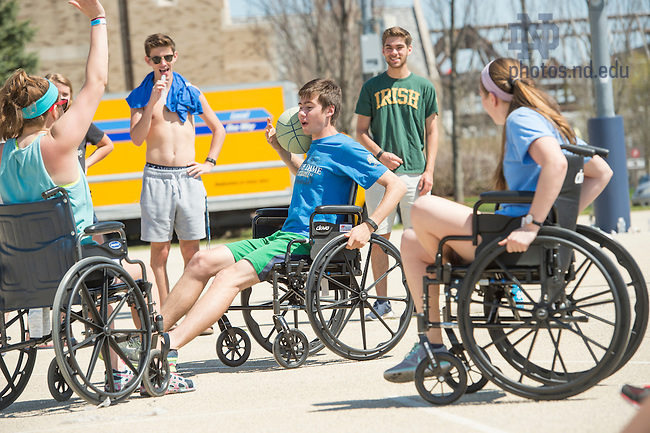April 17, 2016; Ryan Hall Wheelchair Basketball Tournament. (Photo by Barbara Johnston/University of Notre Dame)