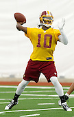 Washington Redskins rookie quarterback Robert Griffin III works out during the team's June minicamp held at Redskins Park in Ashburn, Virginia on Tuesday, June 12, 2012.  Griffin was the second overall pick in the NFL Draft held in April..Credit: Ron Sachs / CNP