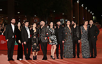 Il gruppo musicale Negramaro con le mogli posano sul red carpet di presentazione del film 'Negramaro. L'anima vista da qui' alla 14^ Festa del Cinema di Roma all'Aufditorium Parco della Musica di Roma, 25 ottobre 2019. <br /> Members of Italian band Negramaro with their wives pose on the red carpet to present the movie 'Negramaro. L'anima vista da qui' during the 14^ Rome Film Fest at Rome's Auditorium, on 25 October 2019.<br /> UPDATE IMAGES PRESS/Isabella Bonotto