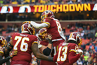 Landover, MD - December 9, 2018: Washington Redskins Josh Johnson (8) celebrates after scoring a touchdown during the  game between New York Giants and Washington Redskins at FedEx Field in Landover, MD.   (Photo by Elliott Brown/Media Images International)