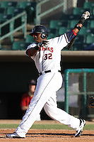 Telvin Nash #32 of the Lancaster JetHawks bats against the Lake Elsinore Storm at Clear Channel Stadium on May 11, 2012 in Lancaster,California. (Larry Goren/Four Seam Images)