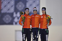SPEED SKATING: SALT LAKE CITY: 20-11-2015, Utah Olympic Oval, ISU World Cup, Podium 5000m Ladies B-division, Antoinette de Jong (NED), Carien Kleibeuker (NED) in Nederlands record: 6.45,04, Lisa van der Geest (NED), ©foto Martin de Jong