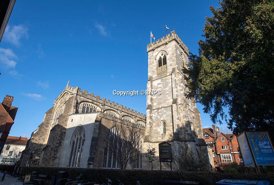 BNPS.co.uk (01202 558833)<br /> Pic: PhilYeomans/BNPS<br /> <br /> Thomas Becket parish church in the heart of Salisbury.<br /> <br /> Doom finally has its day! - A 500 year old 'Day of Judgement' painting, that has survived Henry VIII th, the Puritans and even Victorian prudery has been restored to its former glory.<br /> <br /> Thought to be the largest medieval 'Doom' painting in the country, the striking image been painstakingly restored after a tumultuous 500 year history on the chancel arch of St Thomas Becket church in Salisbury.<br /> <br /> Originally painted in the 15th century, the chancel was white-washed during the Reformation before being uncovered nearly 300 years later in the early 19th century. <br /> <br /> Prudish Victorian's shocked by the naked images then recovered it before it finally re-emerged in 1881 as opinions relaxed. <br /> <br /> Experts have spent three months conserving the faded painting, which included injecting lime slurry behind areas of paint to affix them again to the wall. and delicately 'touching up' in places before finishing it with varnish to bring out its colour.<br /> <br /> Most pre 16th century churches and cathedrals in Britain would have been plastered with religious images and iconography to encourage their often illiterate congregation to good behaviour.<br /> <br /> But during Henry VIII th Protestant Reformation churches were stripped of all graven imagery and the paintings were either whitewashed over or completely destroyed.<br /> <br /> Because of this very few works still survive today making the Salisbury fresco a truly remarkable survivor.<br /> <br /> The restoration is part of a larger set of works at the historic church which are due to cost £1.5million.