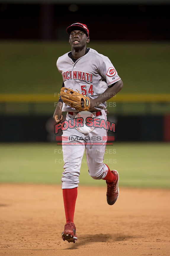 AZL Reds right fielder Edwin Yon (54) jogs off the field between innings of an Arizona League game against the AZL Cubs 1 at Sloan Park on July 13, 2018 in Mesa, Arizona. The AZL Cubs 1 defeated the AZL Reds 4-1. (Zachary Lucy/Four Seam Images)