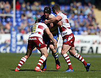 Warrington Wolves' Chris Hill is tackled by Wigan Warriors' Sean O'Loughlin (right) and Sam Powell <br /> <br /> Photographer Stephen White/CameraSport<br /> <br /> Rugby League - Coral Challenge Cup Sixth Round - Warrington Wolves v Wigan Warriors - Sunday 12th May 2019 - Halliwell Jones Stadium - Warrington<br /> <br /> World Copyright © 2019 CameraSport. All rights reserved. 43 Linden Ave. Countesthorpe. Leicester. England. LE8 5PG - Tel: +44 (0) 116 277 4147 - admin@camerasport.com - www.camerasport.com