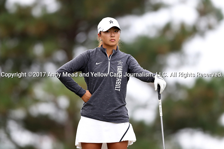 CHAPEL HILL, NC - OCTOBER 15: Vanderbilt's Louise Yu on the 2nd tee. The third and final round of the Ruth's Chris Tar Heel Invitational Women's Golf Tournament was held on October 15, 2017, at the UNC Finley Golf Course in Chapel Hill, NC.