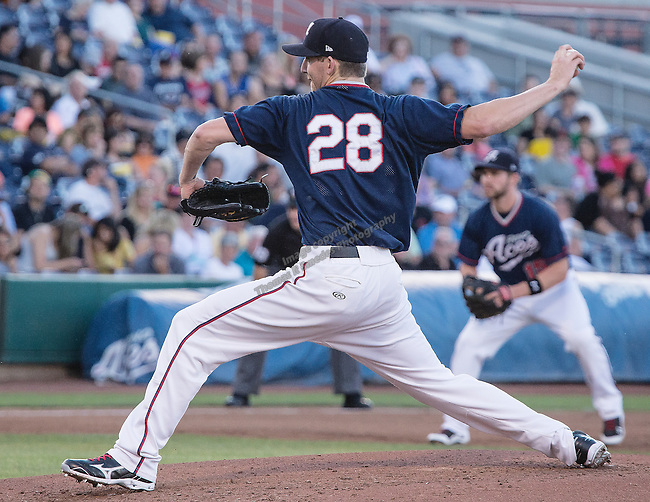 Reno Aces starter Zeke Spruill throws against the Tucson Padres during their game played on Monday, May 24, 2013 in Reno, Nevada.