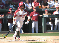 NWA Democrat-Gazette/J.T. WAMPLER Arkansas' Dominic Fletcher watches a hit against Ole Miss Monday June 10, 2019 during the NCAA Fayetteville Super Regional at Baum-Walker Stadium in Fayetteville. Arkansas won 14-1 and will advance to the College World Series in Omaha.