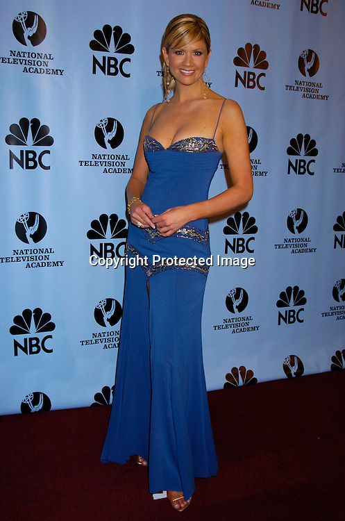Nancy O'Dell  in Nicole Miller ..at the Daytime Emmy Awards on May 21, 2004 in the Press Room at Radio City Music Hall...Photo by Robin Platzer, Twin Images