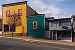 Colourful  wooden buildings in Ladysmith.Vancouver island, British Colombia, Canada.