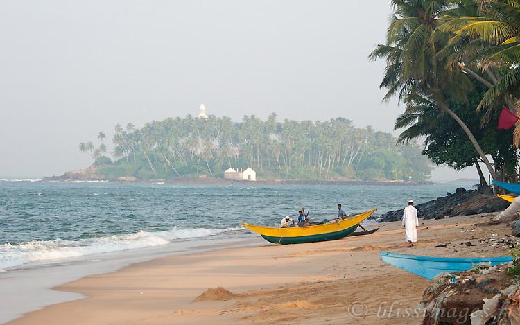 My first view of Beruwala fishing village and distant Barberyn (Beruwala) lighthouse in 2008 -Sri Lanka