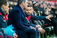 (L-R) Paul Clement and Leon Britton during the Premier League match between Swansea City and Bournemouth at The Liberty Stadium, Swansea, Wales, UK. Saturday 25 November 2017