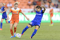 Houston, TX - Sunday Sept. 25, 2016: Denise O'Sullivan, Nahomi Kawasumi during a regular season National Women's Soccer League (NWSL) match between the Houston Dash and the Seattle Reign FC at BBVA Compass Stadium.