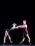 English National Ballet. 2 Human choregraphed by Wayne McGregor. Thomas Edur and Agnes Oaks.