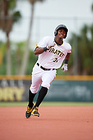 GCL Pirates designated hitter Joseivin Medina (32) runs the bases during the first game of a doubleheader against the GCL Yankees East on July 31, 2018 at Pirate City Complex in Bradenton, Florida.  GCL Yankees East defeated GCL Pirates 2-0.  (Mike Janes/Four Seam Images)