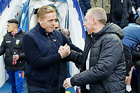 (L-R) Sheffield Wednesday manager Garry Monk greets Swansea City manager Steve Cooper during the Sky Bet Championship match between Sheffield Wednesday and Swansea City at Hillsborough Stadium, Sheffield, England, UK. Saturday 09 November 2019