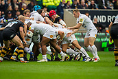 1st October 2017, Ricoh Arena, Coventry, England; Aviva Premiership rugby, Wasps versus Bath Rugby;  James Haskell reaches across the path scrum in an attempt to capture the ball