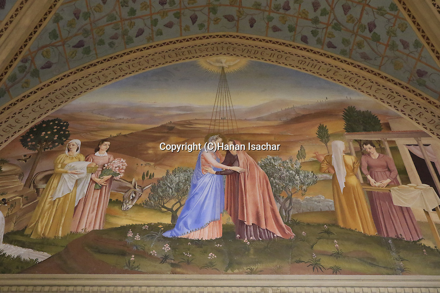 Israel, Jerusalem, a painting at the Church of the Visitation in Ein Karem, depicting Mary meeting Elizabeth