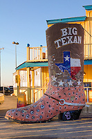 The Big Texan Steak Ranch in Amarillo Texas has been a Route 66 icon since 1960.  <br /> <br /> The towering sign of a long-legged cowboy that Bob erected next to the building became a major landmark on Route 66. From the beginning, the Big Texan welcomed weary travelers and migrating families whose roots spread all across America.<br /> <br /> The now World-famous FREE 72-oz. steak came to life not long after Bob opened the doors to the Big Texan Steak Ranch.