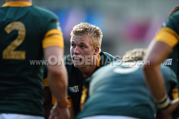 Pieter Steph du Toit of South Africa looks on during a break in play. Rugby World Cup Pool B match between South Africa and Japan on September 19, 2015 at the Brighton Community Stadium in Brighton, England. Photo by: Patrick Khachfe / Onside Images