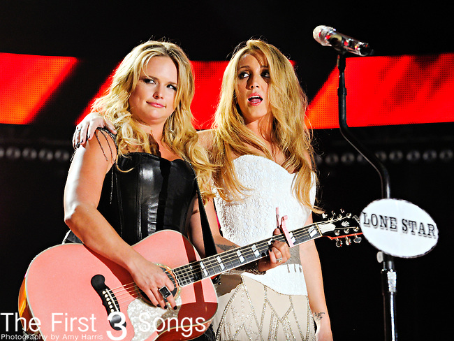Miranda Lambert and Ashley Monroe of Pistol Annies perform at LP Field during the 2012 CMA Music Festival on June 07, 2011 in Nashville, Tennessee.