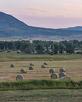 Hay fields outside Steamboat Springs, Colorado, Saturday, August 22, 2015. As part of the 2015 Colorado Water Plan, the North Platte River Basin has called for the use of more irrigation and farming.<br /> <br /> Photo by Matt Nager