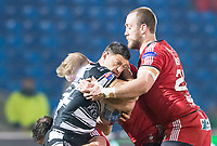Picture by Allan McKenzie/SWpix.com - 16/03/2018 - Rugby League - Betfred Super League - Salford Red Devils v Hull FC - AJ Bell Stadium, Salford, England - Mark Minichiello is tackled by Craig Kopczak & Lee Mossop.