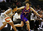 Phoenix player Yuko Oga (1) goes against San Antonio's Helen Darling (30) during the WNBA game between the San Antonio Silver Stars and the Phoenix Mercury, May 20, 2008, at the AT&T Center, San Antonio, Texas. San Antonio won 81 - 76. (Darren Abate/PressPhotoIntl.com)
