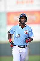 Hickory Crawdads Sherten Apostel (13) heads to third after connecting for a solo homerun during a game with the Asheville Tourists at L.P. Frans Stadium on May 8, 2019 in Hickory, North Carolina.The Tourists defeated the Crawdads 7-6. (Tracy Proffitt/Four Seam Images)