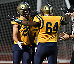 Althoff's Nick Alberico (left) is congratulated by teammate Nicolas Greenwood after Alberico ran in a touchdown off a pass from quarterback Will Ache (not shown). Mater Dei played football at Althoff on Friday September 13, 2019. <br /> Tim Vizer/Special to STLhighschoolsports.com