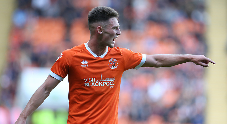 Blackpool's Jordan Thompson<br /> <br /> Photographer Stephen White/CameraSport<br /> <br /> The EFL Sky Bet League One - Blackpool v Portsmouth - Saturday 31st August 2019 - Bloomfield Road - Blackpool<br /> <br /> World Copyright © 2019 CameraSport. All rights reserved. 43 Linden Ave. Countesthorpe. Leicester. England. LE8 5PG - Tel: +44 (0) 116 277 4147 - admin@camerasport.com - www.camerasport.com