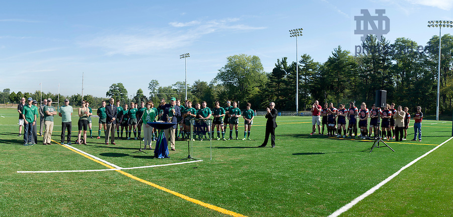Stinson, Rugby, Dedication, game, Rev. John I. Jenkins, C.S.C, John, Affleck, Graves, Jag, Ken, Coach O'Leary, Anne, blessing, new, field