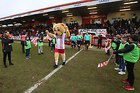 The teams take to the field during Stevenage vs Luton Town, Sky Bet EFL League 2 Football at the Lamex Stadium on 10th February 2018