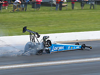 Jun 2, 2019; Joliet, IL, USA; NHRA top fuel driver Leah Pritchett blows a tire during the Route 66 Nationals at Route 66 Raceway. Mandatory Credit: Mark J. Rebilas-USA TODAY Sports