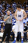 04 November 2016: Duke's Antonio Vrankovic (30) talks with official Justin Porterfield (left). The Duke University Blue Devils hosted the Augustana University Vikings at Cameron Indoor Stadium in Durham, North Carolina in a 2016-17 NCAA Division I Men's Basketball exhibition game.