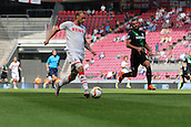 01.08.2015. Cologne, Germany. Pre Season Tournament. Colonia Cup. FC Cologne versus Stoke City.  A breaking Matthias Mehmann (Col) is tracked by Erik Pieters (Stoke).