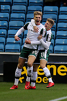 Brad Potts scores Barnsley's opening goal and celebrates with Lloyd Isgrove during Millwall vs Barnsley, Emirates FA Cup Football at The Den on 6th January 2018