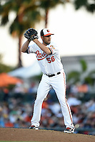 Baltimore Orioles pitcher Darren O'Day (56) during a Spring Training game against the Atlanta Braves on April 3, 2015 at Ed Smith Stadium in Sarasota, Florida.  Baltimore defeated Atlanta 3-2.  (Mike Janes/Four Seam Images)