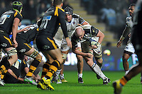Matt Garvey of Bath Rugby takes on the Wasps defence. European Rugby Champions Cup match, between Wasps and Bath Rugby on December 13, 2015 at the Ricoh Arena in Coventry, England. Photo by: Patrick Khachfe / Onside Images