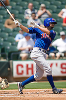 Iowa Cubs 1B Scott Moore (15) at bat against the Round Rock Express on April 10th, 2011 at Dell Diamond in Round Rock, Texas.  (Photo by Andrew Woolley / Four Seam Images)