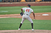 Carlos Ramirez (46) of the Nashville Sounds delivers a pitch to the plate against the Salt Lake Bees at Smith's Ballpark on July 28, 2018 in Salt Lake City, Utah. The Bees defeated the Sounds 11-6. (Stephen Smith/Four Seam Images)