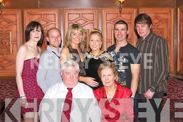 9677-9681.RUBY ANNIVERSARY: PatJoe & Mary Godley, Ballyheigue celebrating their 40th wedding anniversary last Saturday evening in the Meadowlands Hotel, Oakpark, Tralee with their family. Back l-r: Marian (Godley) Gilbride, Pat Flahive, Roseleen & Claire Godley, Willie Joe Leen and Kieran Godley.